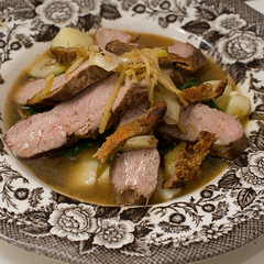 Duck, parsnip, spinach in asian broth