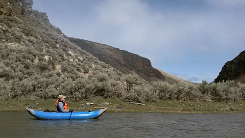 Grant kayaking the Powder River