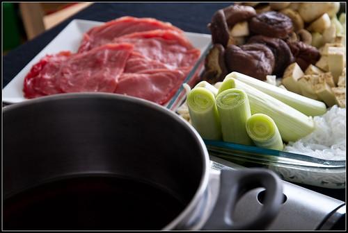 Todo preparado para sukiyaki