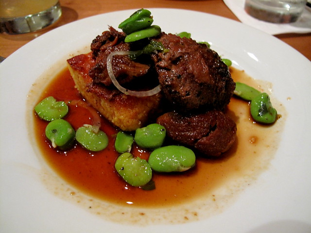 Pork cheeks with spoonbread and favas.  Swoon.