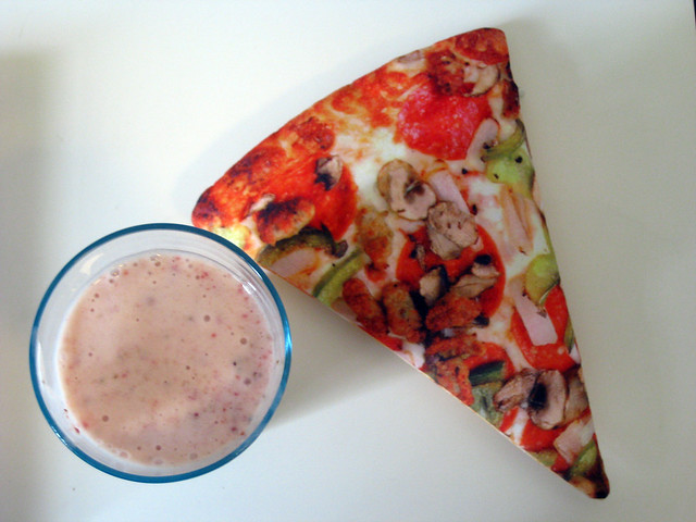 Shake and pizza