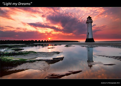 """Light My Dreams"" (awhyu) Tags: new light sea lighthouse seascape seaweed water pool rock clouds reflections sand brighton mud fort pools dreams perch defences wirral merseyside wirrall colorphotoaward"