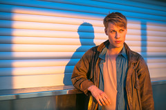 Sebastian (TGKW) Tags: boy sunset shadow portrait people sunlight man beauty sebastian stockholm elevator swedish katarina 5638