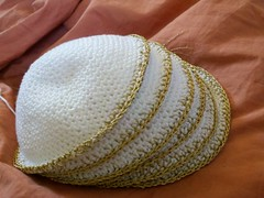 1-4, 6&7 complete (Knit n Frog) Tags: wedding white gold handmade metallic crochet cotton lara yarmulke dmc kippah elann antiquegold dmcthread
