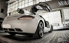 Mercedes-Benz SLS AMG 2011 (Tareq Abuhajjaj | Photography & Design) Tags: light red bw moon white black green cars car sport yellow night speed dark photography design photo big high nice nikon flickr italia power top wheels fast gear ferrari turbo mercedesbenz saudi arabia manual carbon fiber rims riyadh v8  sls amg 2010 ksa  070 tareq 2011    alreem     d700    foilacar tareqdesigncom tareqmoon tareqdesign  abuhajjaj
