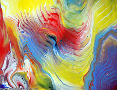 Yellow Blue Red Acrylic Waves (markchadwickart) Tags: camera blue red black art up yellow painting flow effects nikon paint artist acrylic waves close mark vibrant vivid wave canvas oil flowing waving wavy chadwick