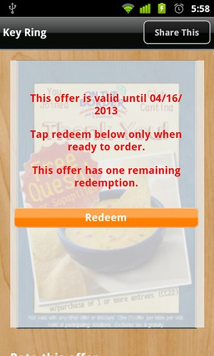 OTB offer with redeem - android