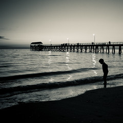 Fairwell to the day (-JosephB-) Tags: ocean sunset bw black beach water reflections dark square lights blackwhite luca jetty 7d adelaide after 365 southaustralia henleybeach 2011 24105mm