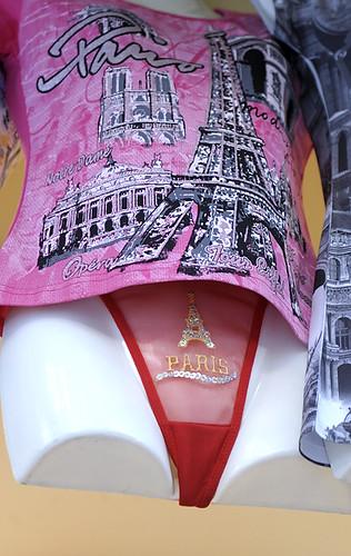 Paris thong and T-shirt with Eiffel Tower logo, Paris, France