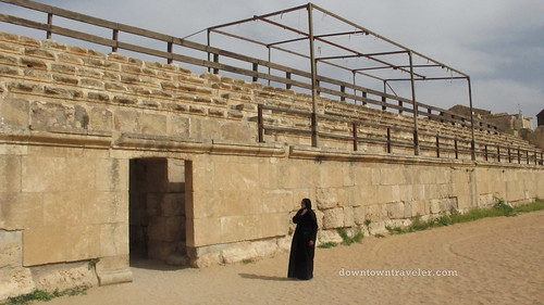 Woman at Gerasa ruins in Jerash Jordan