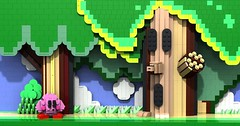 Kirby meets Whispy Woods (wagner of the brick) Tags: kirby lego povray ldraw virtuallego wispywoods