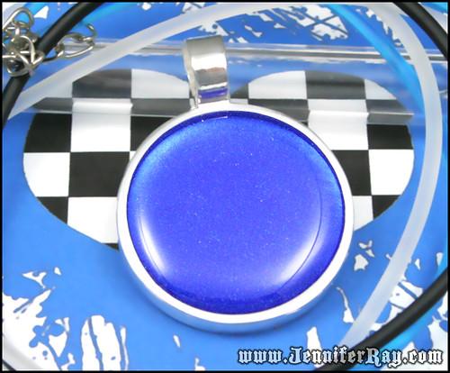 Blue Ocean Pendant - Glittery Blue Sea Resin Necklace by JenniferRay.com