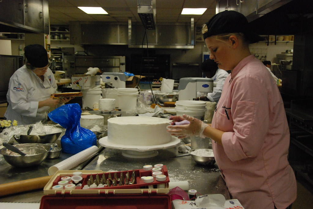 Culinary students at work:  Wedding Cakes