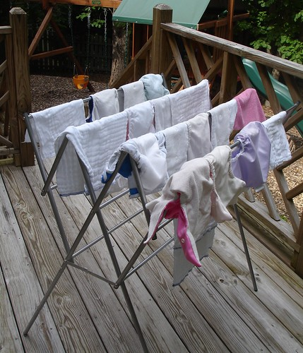Diapers drying on rack outside