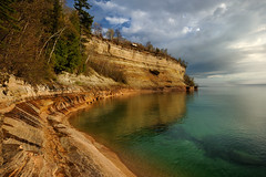 """Miners Cove"" - Pictured Rocks National Lakeshore , Munising Michigan (Michigan Nut) Tags: sunset usa lake storm reflection green clouds geotagged photography spring stones cove wideangle cliffs greatlakes shore lakesuperior picturedrocksnationallakeshore minerscastle michigannutphotography nikon1635mmf4gedafsvrwideanglezoomlens"