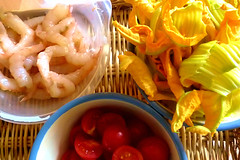 Ingredients for pasta dressing (Carmelita Cookitaly) Tags: italianfood zucchiniblossoms shrimpcherrytomatoes