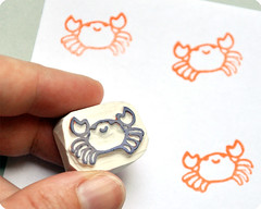 Crab hand carved rubber stamp