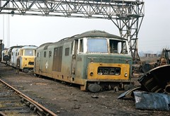 7054 Swindon Works 1Mar75 (david.hayes77) Tags: swindon scrap 7054 class35 hymek swindonworks