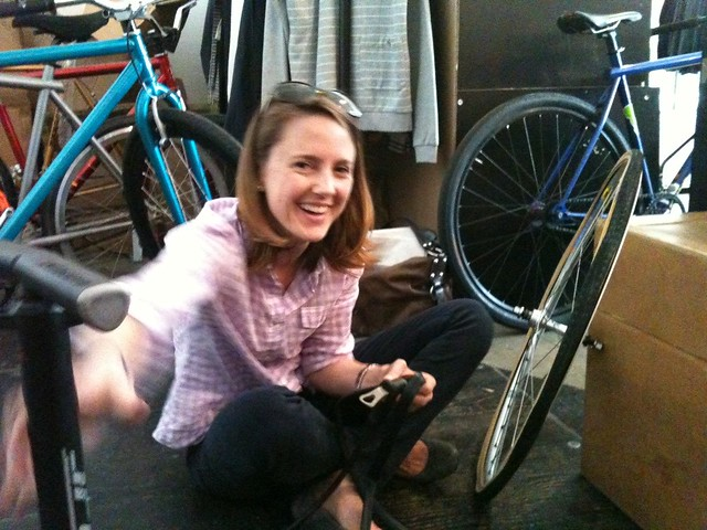 Mary Beth building her own wheels - Apple have just signed up to the cyle to work scheme!
