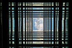 Tartan sky (Maerten Prins) Tags: denmark denemarken arhus aarhus upshot sky blue white cloud reflection symmetry line lines distortion building appartments