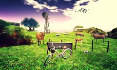 (aliyahts) Tags: firestorm secondlife secondlife:region=lemonbeach secondlife:parcel=itsanewdawn secondlife:x=33 secondlife:y=152 secondlife:z=22 grass bright contrast sky birds windmill bicycle bike pink green animals farm cows pasture sheep trees clouds