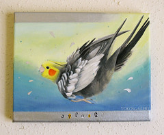 Bath Time Fun (YokosGallery) Tags: blue original portrait pets art birds glitter pen painting paper shower bath birdbath acrylic parchment canvas cockatiel etsy parrots walldecor yokosgallery