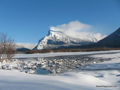 View of Mt Rundle over Frozen Lake (Sam Kynman-Cole) Tags: canada alberta banff snowshoeing shoeing mountrundle mtrundle funinthesnow