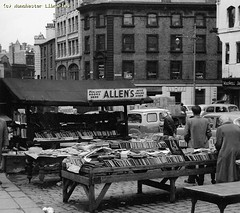 Allens Bookstall, Shude Hill, 1958 (archivesplus) Tags: manchester book books bookshop bookstall manchesterlocalimagecollection gb127