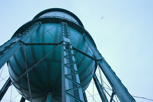 water tower and helicopter