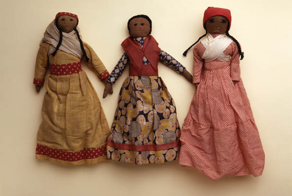 Three Cherokee dolls in dresses and shawls. Photograph by Karen Mauch and John Chew. Penn Museum image #151954