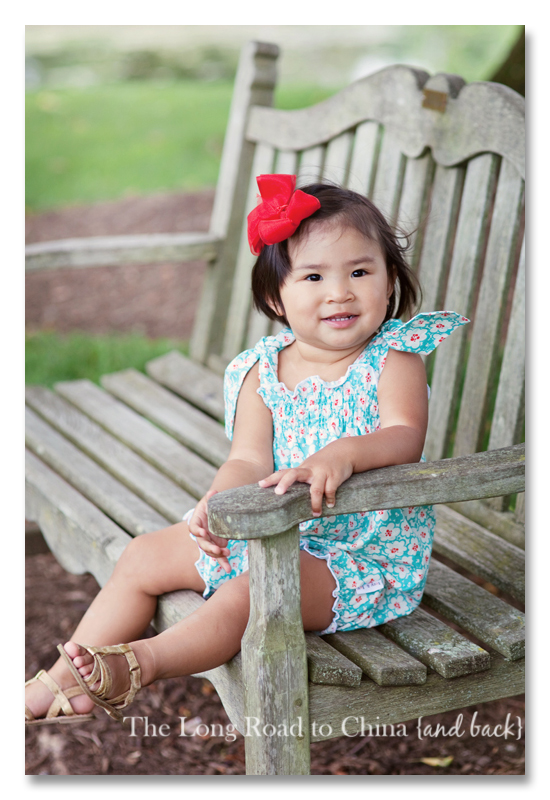 Reagan Kicking Her legs on the bench BLOG