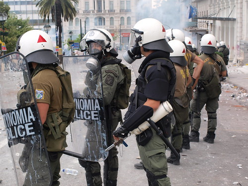 Greek riot police getting ready to attack Los Indignados encampment, Syntagma Square, Athens
