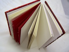 top edges of papers (sandySTC) Tags: red leather watercolor paper notebook bristol gold book handmade drawing linen journal wc canson mohawk handsewn strathmore bookbinding binding coptic superfine rhodia handbound exposedspine 2011 mmxi jacksonfabricarts