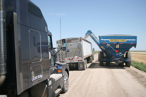 Due to recent rains we had to park the trucks on the road to avoid getting stuck