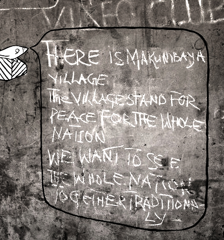 Chalk on wall. By Macaumbaya's chief's brother aka YELLOWMAN