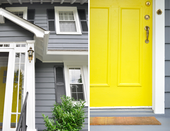 slate grey + charcoal grey shutters + bright white trim + yellow door (of course)