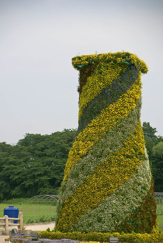 A replica of the ancient Astronomy tower in Wolseong Park made of plants at Gyeongju