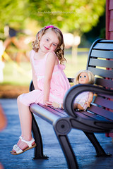 sitting at the train station (Jon Anderson|Photography) Tags: portrait girl station arlington train washington kid doll child bokeh sony flash wa fullframe alpha parkbench goldenhour fill americangirl 850 arlingtonwa oncameraflash a tamronspaf70200mmf28dildifmacro hvl58am jonandersonphotography