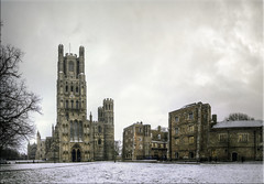"""The ship of the Fens..."" (Hans Kool) Tags: uk england panorama snow building church buildings cathedral unitedkingdom toren sneeuw ely kerk torens hdr engeland kathedraal"