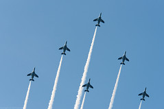 formation flight (gemapozo) Tags: sky japan airplane tokyo nikon 日本 神宮外苑 d800 jsdf 新宿区 blueimpulse 東京都 jasdf 80400mmf4556dvr jingugaien ブルーインパルス aiafvrzoomnikkor80400mmf4556ded