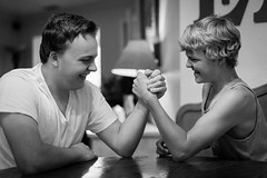 152/365 Time to arm wrestle (Kelly__Webb) Tags: muscles arm brothers brother wrestling competition armwrestling blankandwhite