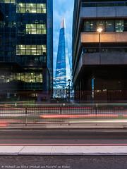 Shard Framed (DSC08008) (Michael.Lee.Pics.NYC) Tags: london england unitedkingdom lowerthamesstreet shard architecture night longexposure twilight bluehour traffictrail lighttrail sony a7rm2 fe2470mmgm