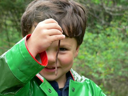 Young boy examining an earthworm.