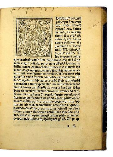Historiated woodcut initial in Albertus Magnus [pseudo-]: Secreta mulierum et virorum (cum commento)