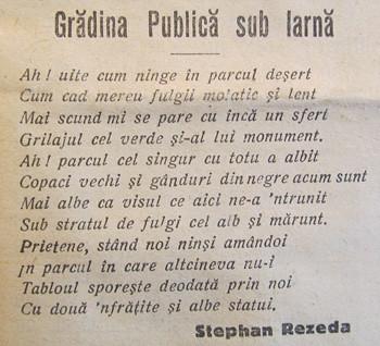 Poezie de la inceputul secolului XX dedicata Gradinii Publice