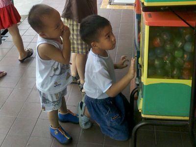 Boys at vending machine