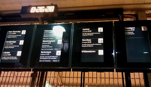 Signs at Flinders Street - Where's the Williamstown train?