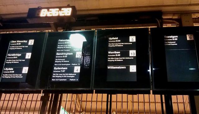 弗林德斯街的迹象 - 威廉斯敦火车在哪里?