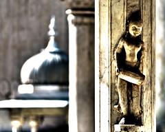 Deity with drum, Gatore Ki Chhatriyan, Jaipur, India (MJ Reilly) Tags: sculpture india statue stone nikon god dome marble hindu jaipur deity d90 chhatri gatorekichhatriyan
