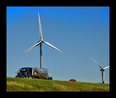 Wind Power on the Plains (Topeeka) Tags: green energy power kansas ellsworth semitruck i70 windfarm trucking salina peterbilt windpower turbines kenworth freightliner